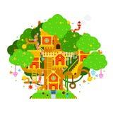 Ζωηρόχρωμη διανυσματική απεικόνιση παιδιών treehouse με τα σπίτια, ελεύθερη απεικόνιση δικαιώματος