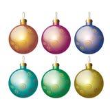 Ζωηρόχρωμη διανυσματική απεικόνιση σφαιρών Χριστουγέννων Στοκ Φωτογραφίες