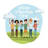 Ζωηρόχρωμη κάρτα της ευτυχούς ημέρας φιλίας με την ομάδα ανδρών και γυναικών υπαίθρια στην ηλιόλουστη ημέρα διανυσματική απεικόνιση