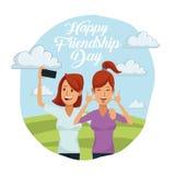 Ζωηρόχρωμη κάρτα της ευτυχούς ημέρας φιλίας με το ζευγάρι των γυναικών υπαίθρια ηλιόλουστη στην ημέρα και που παίρνουν ένα selfie απεικόνιση αποθεμάτων