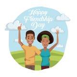 Ζωηρόχρωμη κάρτα της ευτυχούς ημέρας φιλίας με το afro Αμερικανός ζευγών υπαίθρια στην ηλιόλουστη ημέρα απεικόνιση αποθεμάτων