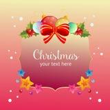 Ζωηρόχρωμη ζωηρόχρωμη κάρτα Χριστουγέννων με το τόξο ελεύθερη απεικόνιση δικαιώματος
