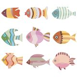 Ζωηρόχρωμη καθορισμένη απεικόνιση ψαριών Θάλασσα ή ωκεάνια συλλογή ψαριών που απομονώνεται στο άσπρο υπόβαθρο απεικόνιση αποθεμάτων
