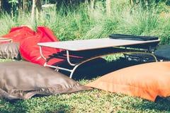Ζωηρόχρωμη καρέκλα beanbag και κοντός πίνακας για το πικ-νίκ Στοκ Φωτογραφία