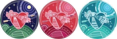 Ζωηρόχρωμη καρδιά απεικόνισης διάνυσμα βαλεντίνων αγάπης απεικόνισης ημέρας ζευγών Στοκ Φωτογραφία