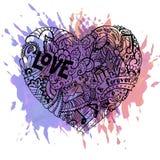Ζωηρόχρωμη καρδιά Dodle με τους παφλασμούς χρωμάτων Διανυσματική απεικόνιση