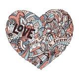 Ζωηρόχρωμη καρδιά Dodle με το περίκομψο otnament Διανυσματική απεικόνιση