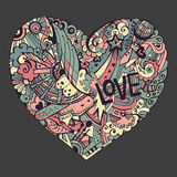 Ζωηρόχρωμη καρδιά Dodle με το περίκομψο otnament Ελεύθερη απεικόνιση δικαιώματος