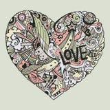 Ζωηρόχρωμη καρδιά Dodle με το περίκομψο otnament Απεικόνιση αποθεμάτων