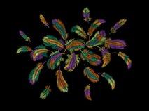 Ζωηρόχρωμη κεντητική φτερών γύρω από τη ρύθμιση Boho φυλετικό κλασικό κεντημένο υπόβαθρο πουλιών ενδυμάτων ινδικό διανυσματική απεικόνιση