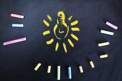 Ζωηρόχρωμη κιμωλία με το βολβό εν πλω απεικόνιση αποθεμάτων