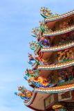 Ζωηρόχρωμη κινεζική στέγη ναών Στοκ Εικόνα