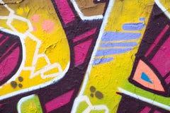 Ζωηρόχρωμη κινηματογράφηση σε πρώτο πλάνο τοίχων γκράφιτι - υπόβαθρο γκράφιτι Στοκ Εικόνα