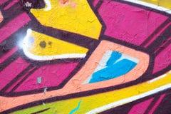 Ζωηρόχρωμη κινηματογράφηση σε πρώτο πλάνο τοίχων γκράφιτι - υπόβαθρο γκράφιτι Στοκ Φωτογραφία