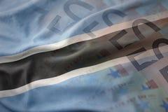 Ζωηρόχρωμη κυματίζοντας εθνική σημαία της Μποτσουάνα σε ένα ευρο- υπόβαθρο τραπεζογραμματίων χρημάτων Στοκ Φωτογραφίες
