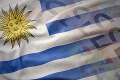 Ζωηρόχρωμη κυματίζοντας εθνική σημαία της Ουρουγουάης σε ένα ευρο- υπόβαθρο τραπεζογραμματίων χρημάτων Στοκ Εικόνες