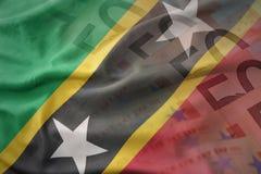 Ζωηρόχρωμη κυματίζοντας εθνική σημαία του St Kitts and Nevis σε ένα ευρο- υπόβαθρο τραπεζογραμματίων χρημάτων Στοκ εικόνες με δικαίωμα ελεύθερης χρήσης