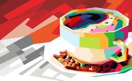 Ζωηρόχρωμη λαϊκή τέχνη καφέ ελεύθερη απεικόνιση δικαιώματος