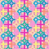 Ζωηρόχρωμη μαλακή κρητιδογραφία που χρωματίζεται επανάληψη του σχεδίου των κύκλων και των τετραγώνων Στοκ εικόνες με δικαίωμα ελεύθερης χρήσης
