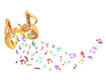 Ζωηρόχρωμη μύγα ανοιχτών πορτών μουσικής επάνω ελεύθερη απεικόνιση δικαιώματος