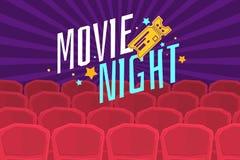 Ζωηρόχρωμη νύχτα κινηματογράφων αφισών με τον κινηματογράφο, τα εισιτήρια και τις καρέκλες Στοκ Εικόνες