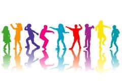 Ζωηρόχρωμη ομάδα χορού σκιαγραφιών παιδιών απεικόνιση αποθεμάτων