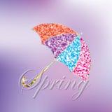 Ζωηρόχρωμη ομπρέλα άνοιξη όμορφος εορταστικός ανα απεικόνιση αποθεμάτων