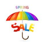 Ζωηρόχρωμη ομπρέλα πώλησης ανοίξεων Στοκ Εικόνες