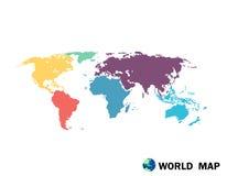 Ζωηρόχρωμη πολιτική απεικόνιση παγκόσμιων χαρτών Στοκ Εικόνες