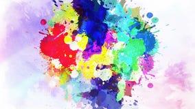 Ζωηρόχρωμη πτώση μελανιού στο νερό Μειωμένο ζωηρόχρωμο μελάνι στο νερό με το χρωματισμένο υπόβαθρο απόθεμα βίντεο