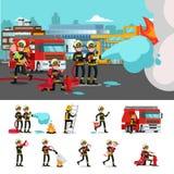Ζωηρόχρωμη πυροσβεστική σύνθεση ελεύθερη απεικόνιση δικαιώματος