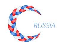 Ζωηρόχρωμη ρωσική σημαία πλεξίδων Σγουρό κυματιστό διάνυσμα Στοκ Εικόνες