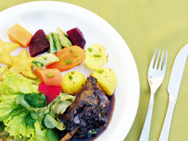 Ζωηρόχρωμη σαλάτα με το κρέας αρνιών Στοκ Εικόνες
