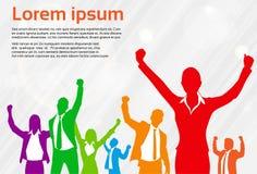 Ζωηρόχρωμη σκιαγραφία εορτασμού επιχειρηματιών Διανυσματική απεικόνιση