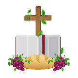 ζωηρόχρωμη σκιαγραφία με την ιερή Βίβλο ανοικτή με το σταυρό και το ψωμί και τα σταφύλια Στοκ εικόνες με δικαίωμα ελεύθερης χρήσης