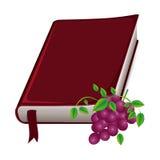 ζωηρόχρωμη σκιαγραφία με την ιερή Βίβλο με την κορδέλλα και τα σταφύλια Στοκ φωτογραφία με δικαίωμα ελεύθερης χρήσης