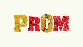 Ζωηρόχρωμη σφραγισμένη απεικόνιση του Word έννοιας Prom απεικόνιση αποθεμάτων
