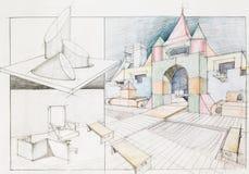 Ζωηρόχρωμη σύγχρονη κατασκευή Στοκ Εικόνα
