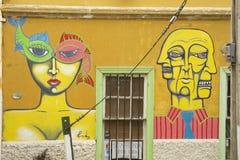 Ζωηρόχρωμη τέχνη γκράφιτι σε Valparaiso, Χιλή Στοκ Εικόνες
