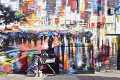 Ζωηρόχρωμη τέχνη οδών γκράφιτι πόλη του Λονδίνου, Κάμντεν Στοκ Εικόνες