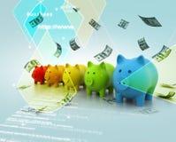 Ζωηρόχρωμη τράπεζα Piggy σε μια σειρά Στοκ Εικόνες