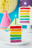 Ζωηρόχρωμη φέτα του κέικ γενεθλίων ουράνιων τόξων Στοκ Φωτογραφίες