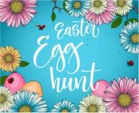 Ζωηρόχρωμη φράση καλλιγραφίας κυνηγιού αυγών Πάσχας με το floral και ντεκόρ αυγών ελεύθερη απεικόνιση δικαιώματος