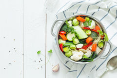 Ζωηρόχρωμη φρέσκια σαφής σούπα άνοιξη - χορτοφάγο απόθεμα Στοκ Φωτογραφίες