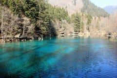 Ζωηρόχρωμη όμορφη λίμνη Jiuzhaigou το χειμώνα Στοκ εικόνες με δικαίωμα ελεύθερης χρήσης