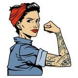Ζωηρόχρωμη όμορφη ισχυρή καρφίτσα επάνω στο κορίτσι Στοκ εικόνες με δικαίωμα ελεύθερης χρήσης