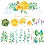 Ζωηρόχρωμη floral συλλογή με τα λουλούδια + 1 όμορφη ανθοδέσμη Σύνολο floral στοιχείων για τις συνθέσεις σας απεικόνιση αποθεμάτων