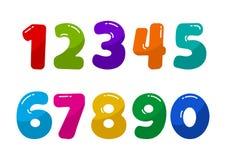 Ζωηρόχρωμοι αριθμοί πηγών από 1 έως 0 r απεικόνιση αποθεμάτων
