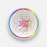 Ζωηρόχρωμοι 360 βαθμοί κουμπιών παιχνιδιού με το βέλος Στοκ Φωτογραφία