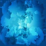 Ζωηρόχρωμοι λεκέδες ελαιοχρωμάτων Watercolor σταγόνων που χρωματίζεται μπλε βούρτσα Στοκ Εικόνες